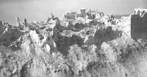 Abadía de Montecassino en Italia destruída por los bombardeos aliados.